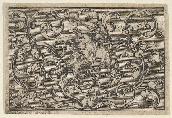 Fascinating Historical Picture of Paul Birckenhultz with Horizontal Panel with a Bird from Varii Generis Opera Aurifabris Necessaria in 1600
