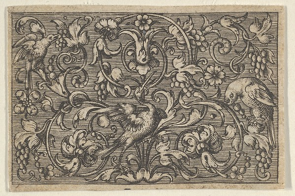 This is What Paul Birckenhultz and Horizontal Panel with Three Birds from Varii Generis Opera Aurifabris Necessaria Looked Like  in 1600