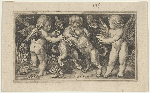 Two Genii with Two Dogs Fighting