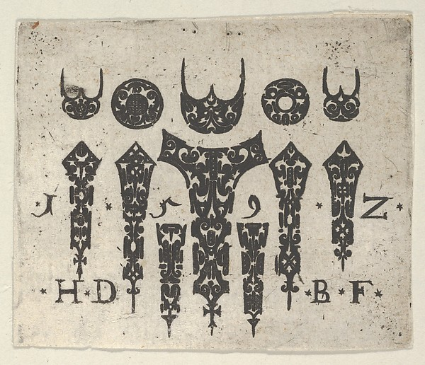 Fascinating Historical Picture of Hans de Bull with Blackwork Print with a Row of Seven Vertical Fillets Below a Row of Three-Pronged Motifs and Circles in 1592