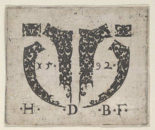 Fascinating Historical Picture of Hans de Bull with Blackwork Print with Two Small Horizontal Panels Above a Pair of Lunar-Shaped Fillets with Two Motif in 1592