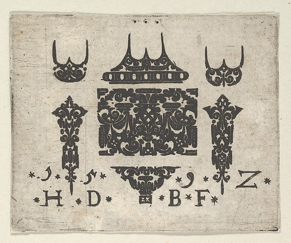 Fascinating Historical Picture of Hans de Bull with Blackwork Print with a Horizontal Panel and Six Small Motifs in 1592