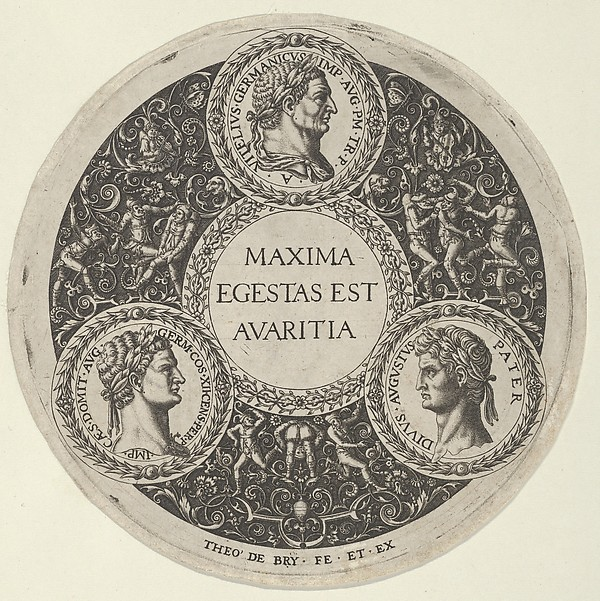 Design for a Dish with Portraits of the Roman Emperors Vetllius, Domitian, and Augustus