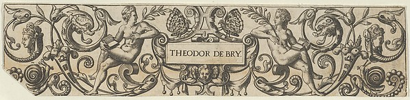Fascinating Historical Picture of Theodor de Bry with Frieze with Two Female Figures Holding Books in 1590