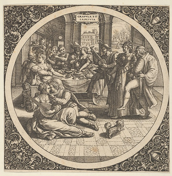 Fascinating Historical Picture of Theodor de Bry with Scene with Galants at a Banquet in a Circle at Center in 1580