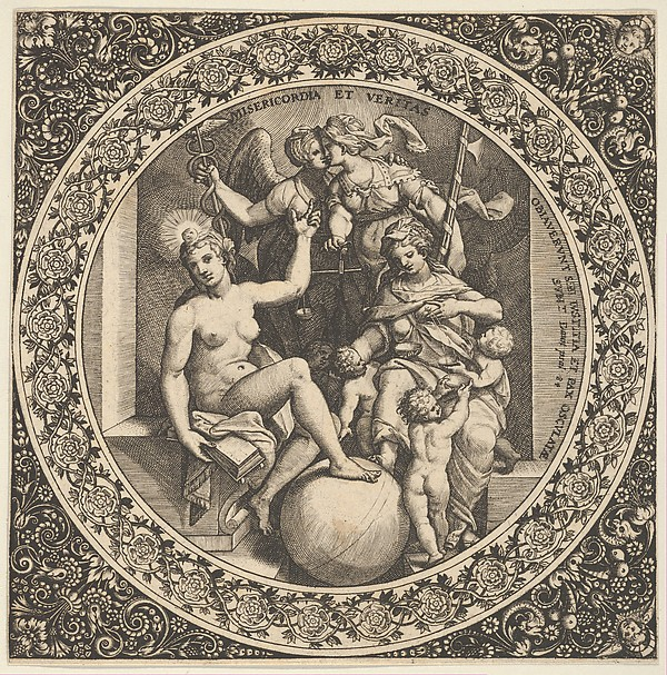 Scene with Misericordia and Veritas in a Circle at Center