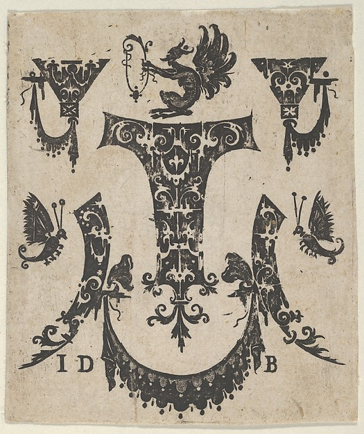 Fascinating Historical Picture of Hans de Bull with Blackwork Print with Five Ornament Motifs a Pair of Butterflies and a Grotesque in 1592