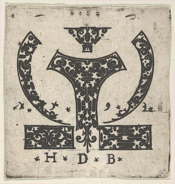 Fascinating Historical Picture of Hans de Bull with Blackwork Print with Two Horizontal Panels Below a Pair of Lunar-Shaped Fillets with Two Motifs at C in 1592