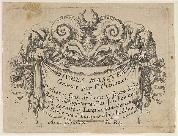 Title Plate with Two Satyr Heads, from Divers Masques
