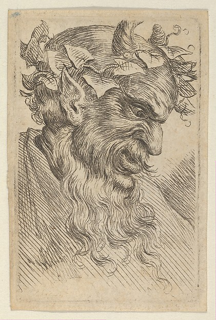 Satyr Mask with a Crown of Ivy, Facing Right, from Divers Masques
