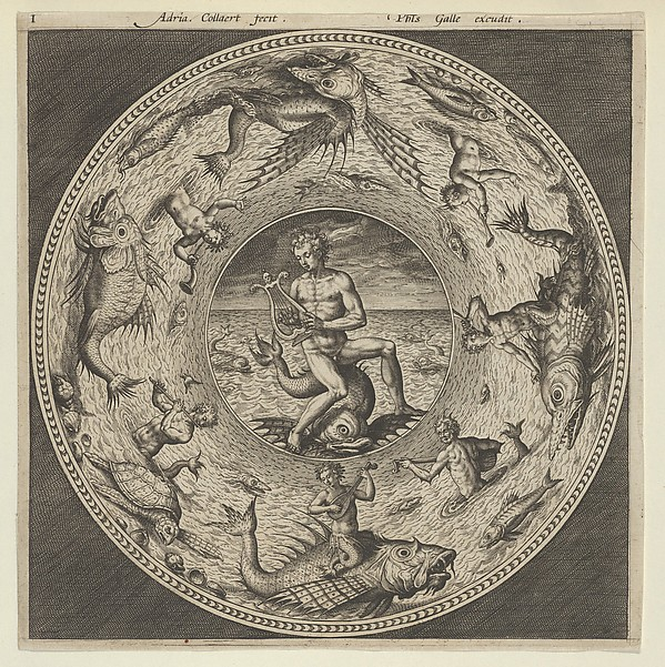 Fascinating Historical Picture of Adriaen Collaert with Design for a Plate with Arion Riding a Dolphin in a Medallion Bordered by Sea Monsters in 1600