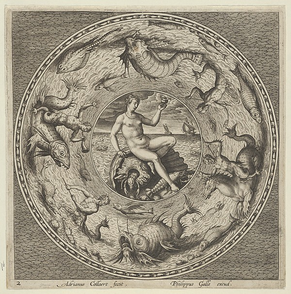 Fascinating Historical Picture of Adriaen Collaert with Design for a Plate with Thetis on a Shell in a Medallion Bordered by Sea Monsters in 1600