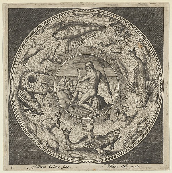 Fascinating Historical Picture of Adriaen Collaert with Design for a Plate with Neptune in a Shell Drawn by Horses in a Medallion Bordered by Sea Monsters in 1600