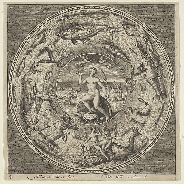This is What Adriaen Collaert and Design for a Plate with Galatea on a Shell Flanked by Trumpeters in a Medallion Bordered by Sea Mons Looked Like  in 1600