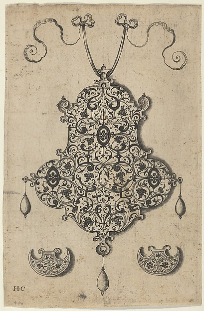 Design for the Verso of a Pendant with Grapevines Above Axe-Shaped Ornaments