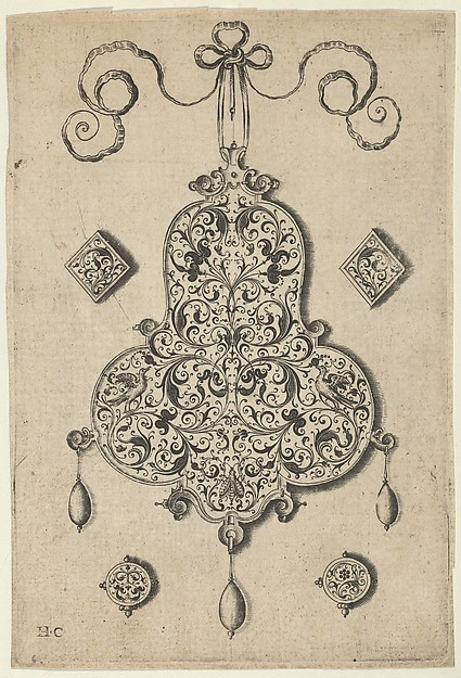 Design for the Verso of a Pear-Shaped Pendant Flanked by Lozenge Ornaments and Circular Ornaments Below
