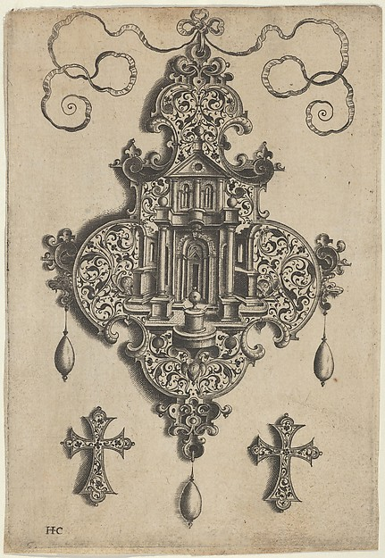 Pendant Design with a Temple and Vase Above Cross-Shaped Ornaments