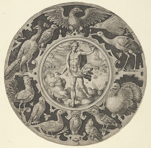 Fascinating Historical Picture of Elder with Aer in a Decorative Border with Birds from a Series of Circular Designs with the Four Elements in 1590
