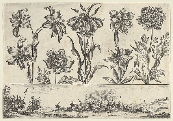 Horizontal Panel with a Row of Flowers Above a Frieze with a Battle Scene in a Landscape, from Livre Nouveau de Fleurs Tres-Util