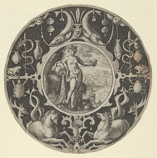 Fascinating Historical Picture of Elder with Aqua in a Decorative Border with Sea Creatures from a Series of Circular Designs with the Four El in 1590