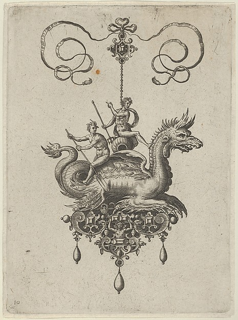 Pendant Design with a Sea Monster Carrying Neptune on an Urn Beside a River-God with an Oar