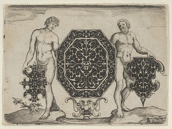 Fascinating Historical Picture of  with Octagonal Case and Two Other Motifs Held by Ignudi in 1622