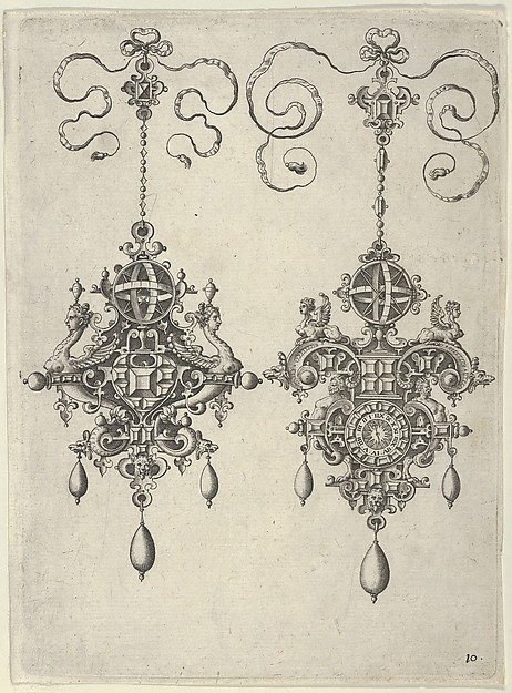Two Pendant Designs with Sun-Dials on Top