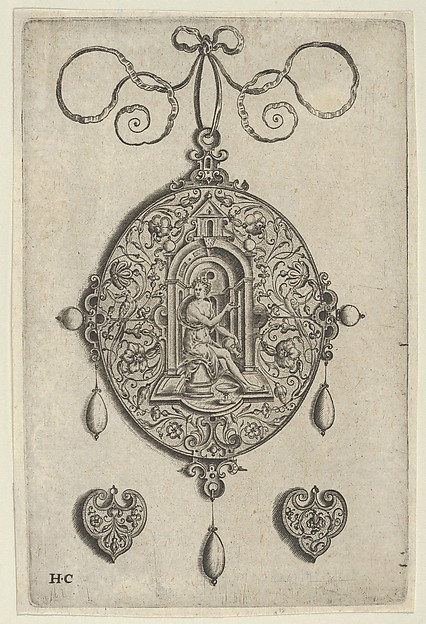Oval-Shaped Pendant Design with Hebe Seated under a Niche