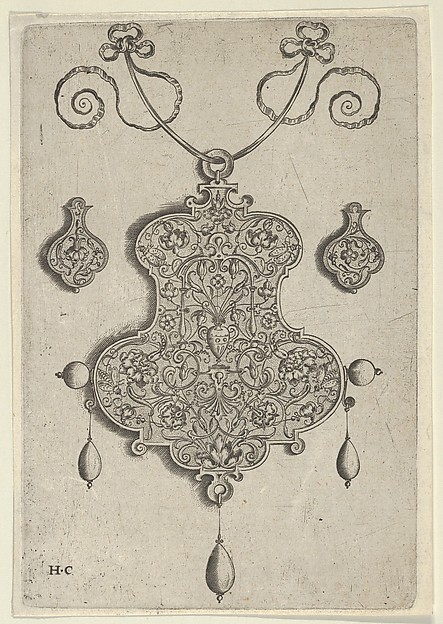 Design for the Verso of a Pendant with a Vase at Center