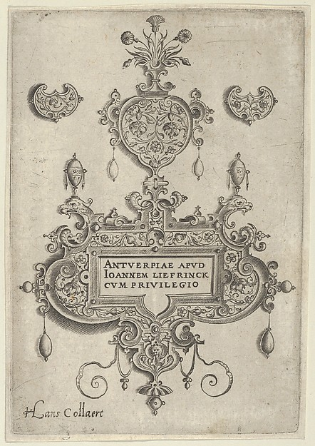 Title Plate, from Pendant Designs with Deities in Niches and Flower-Arabesques
