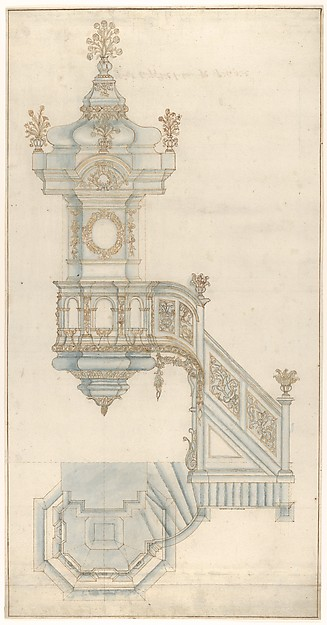 Fascinating Historical Picture of Elder with Design for a Pulpit in 1687