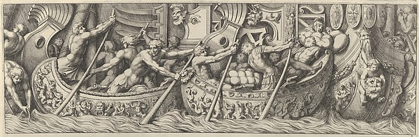 Plate 6: figures in boats decorated with mythological subjects using poles to propel them