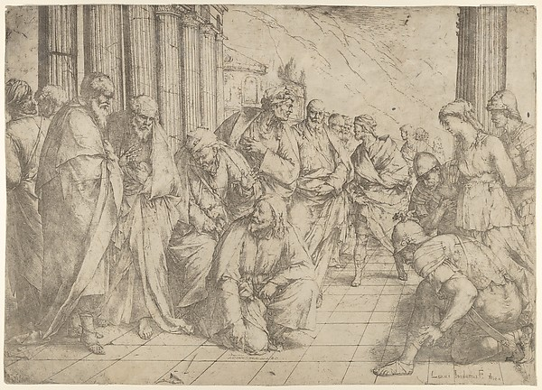 Christ kneels and writes on the pavement in the centre and the woman taken in adultery between three soldiers on the right.