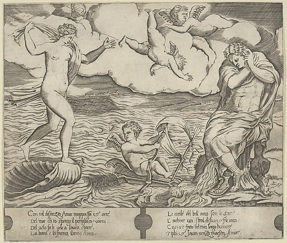 Venus riding a conch at left and cowering man (Jason) at right, Eros riding a makeshift boat holding a bow between them