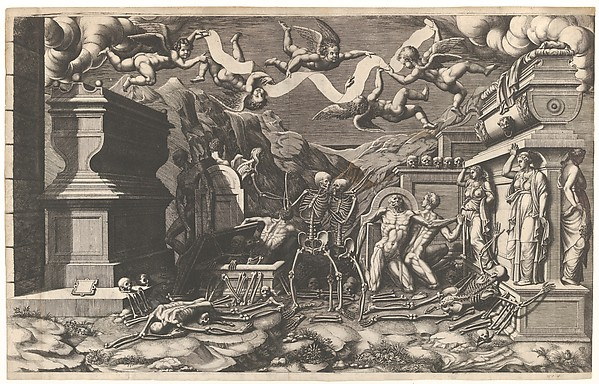 The Vision of Ezekiel; a group of corpses and skeletons emerging out of tombs, above them five winged putti holding a banderole
