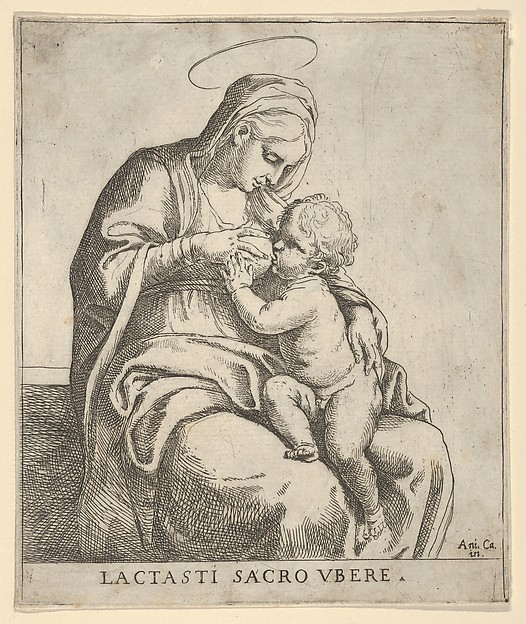 Fascinating Historical Picture of Guido Reni with The Virgin nursing the infant Christ in 1590