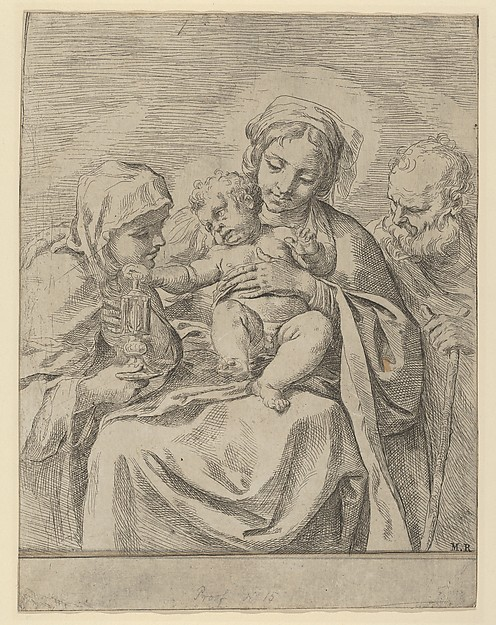 Fascinating Historical Picture of Guido Reni with The Holy Family with Saint Clare in 1590