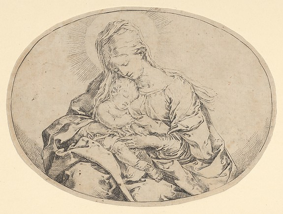 Fascinating Historical Picture of Guido Reni with The Virgin holding the infant Christ an oval composition in 1600
