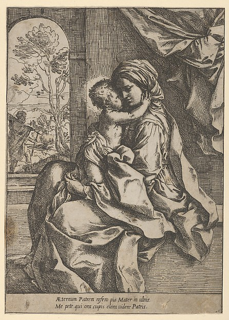 Fascinating Historical Picture of Guido Reni with The Virgin seated with the Christ Child on her lap embracing her Joseph seen through an archway at in 1600