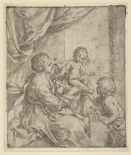 Fascinating Historical Picture of Guido Reni with The Virgin and Child at a table with the young John the Baptist in 1600
