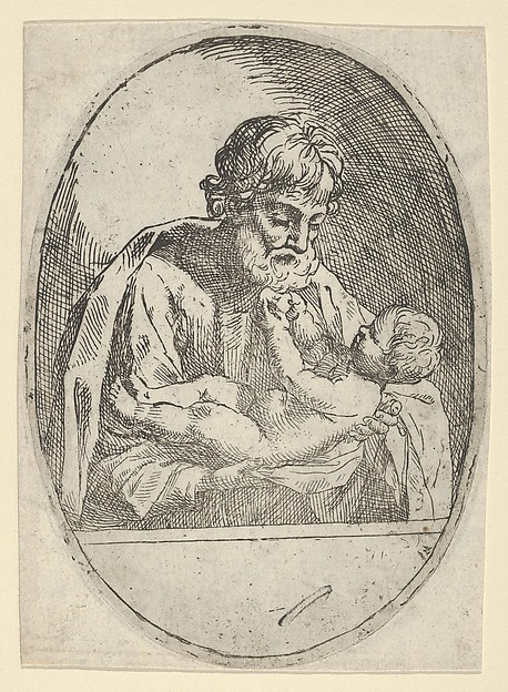 Saint Joseph holding the infant Christ, who raises up his hands, an oval composition, after Reni