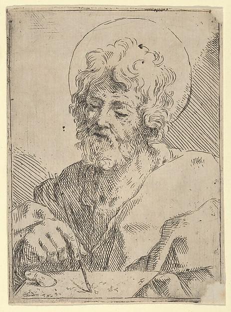 Saint Luke holding a paint brush and palette, after Reni (?)