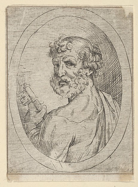 Saint Peter seen from behind, turning to face outwards and holding a key, in an oval frame, from Christ, the Virgin, and Thirteen Apostles
