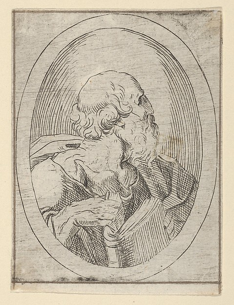 An apostle seen in profile facing right, holding an open book, in an oval frame, from Christ, the Virgin, and Thirteen Apostles