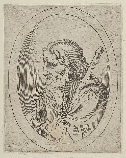 Saint Jude in prayer, seen in profile facing left with a staff resting on his shoulder, in an oval frame, from Christ, the Virgin, and Thirteen Apostles