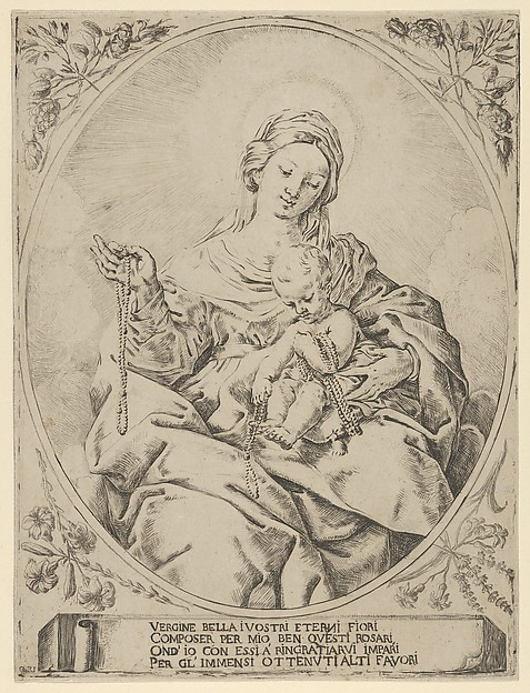 The Virgin seated holding a rosary in her right hand, the infant Christ on her lap holding several rosaries, in an oval frame with flowers surrounding it and a tablet with inscription at the base