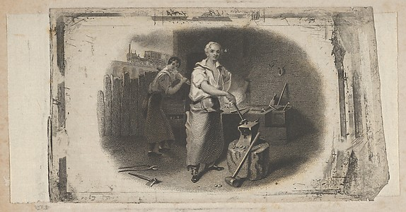 Banknote vignette with a blacksmith and forge