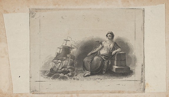 Banknote vignette with female figure representing marine commerce