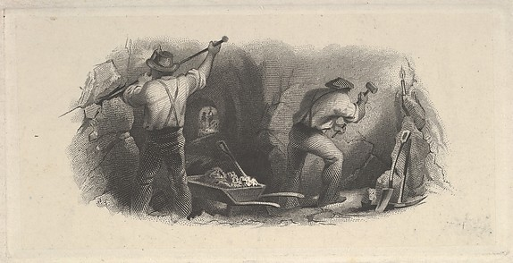 Banknote vignette showing two men working in a mine