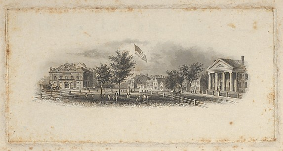 Banknote vignette showing city buildings around a fenced-in green with children playing around an American flag